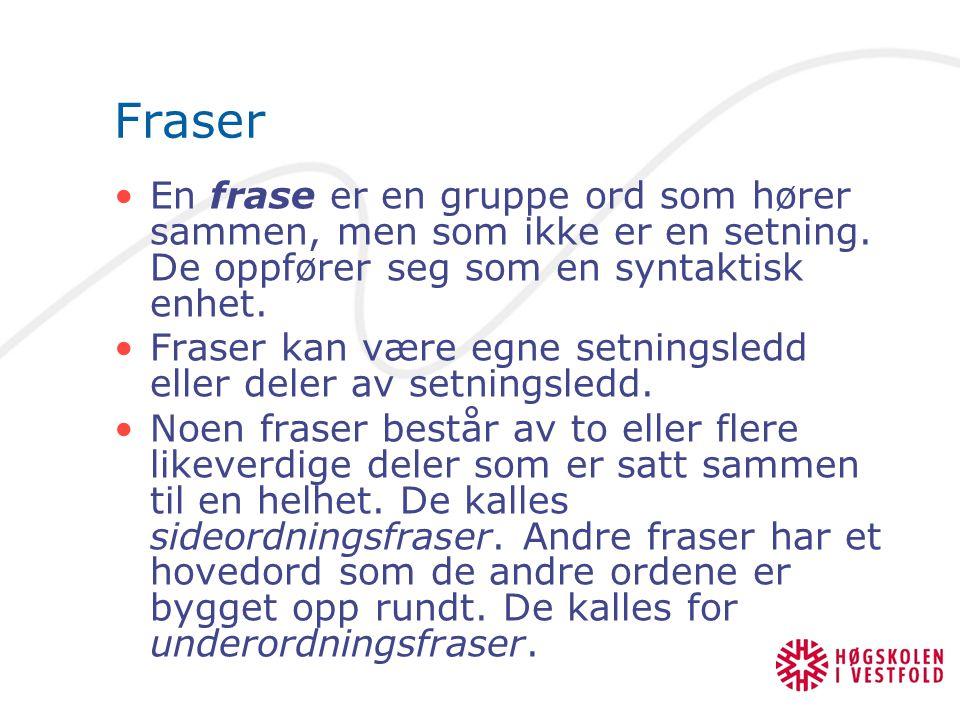 Fraser En frase er en gruppe ord som hører sammen, men som ikke er en setning. De oppfører seg som en syntaktisk enhet.