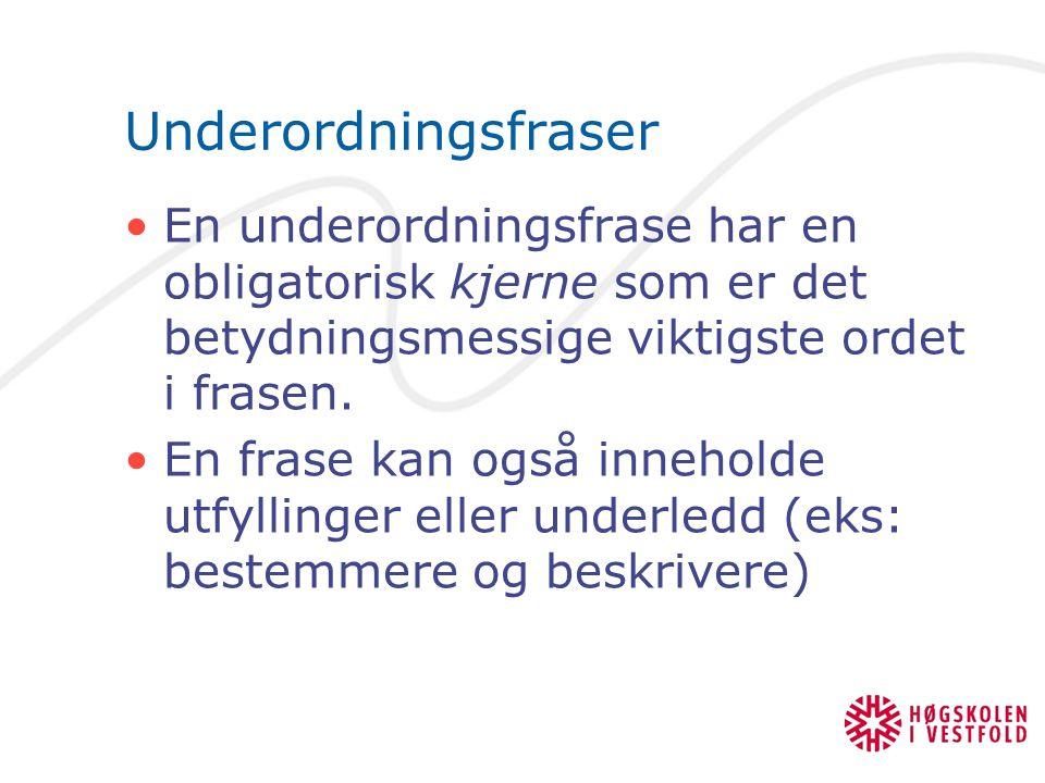 Underordningsfraser En underordningsfrase har en obligatorisk kjerne som er det betydningsmessige viktigste ordet i frasen.