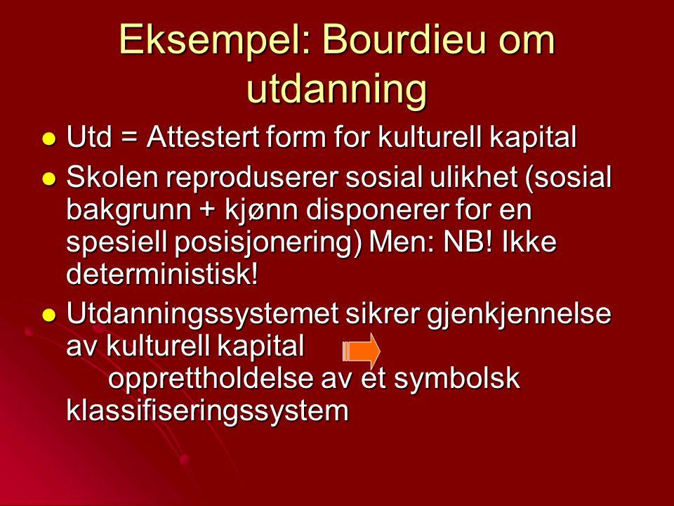 Eksempel: Bourdieu om utdanning