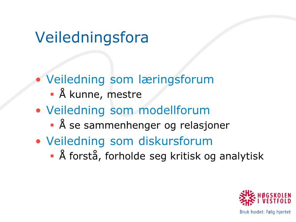 Veiledningsfora Veiledning som læringsforum Veiledning som modellforum
