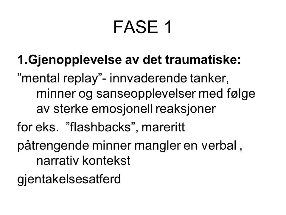 FASE 1 1.Gjenopplevelse av det traumatiske: