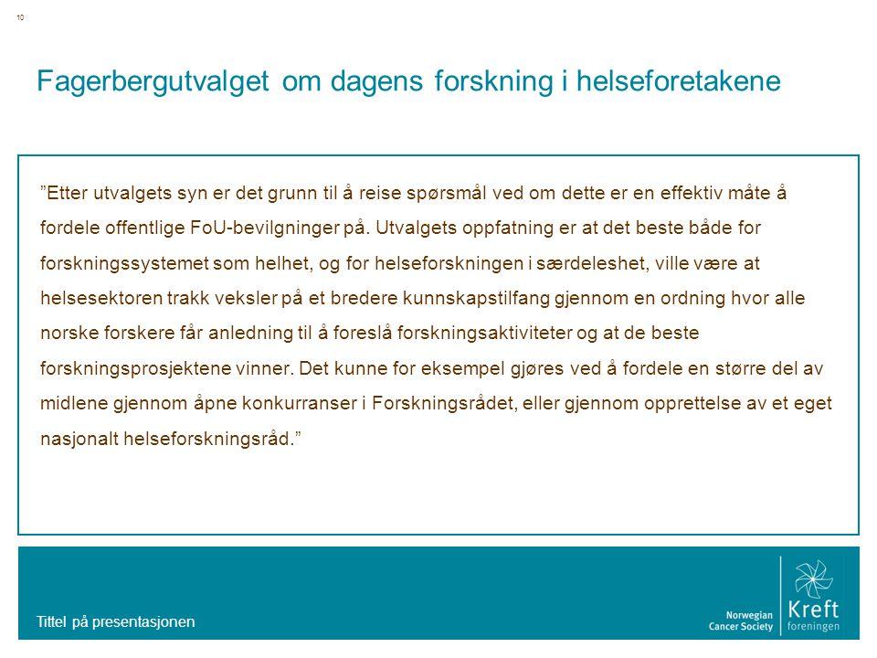Fagerbergutvalget om dagens forskning i helseforetakene