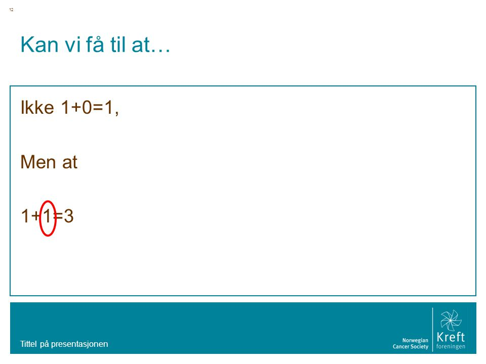 Kan vi få til at… Ikke 1+0=1, Men at 1+1=3 Tittel på presentasjonen