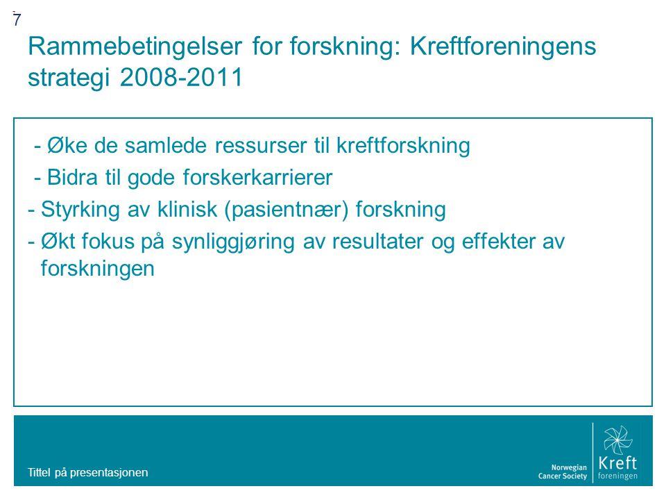 Rammebetingelser for forskning: Kreftforeningens strategi 2008-2011