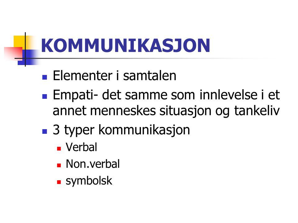 KOMMUNIKASJON Elementer i samtalen