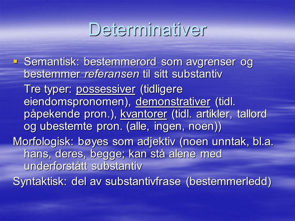 Determinativer Semantisk: bestemmerord som avgrenser og bestemmer referansen til sitt substantiv.