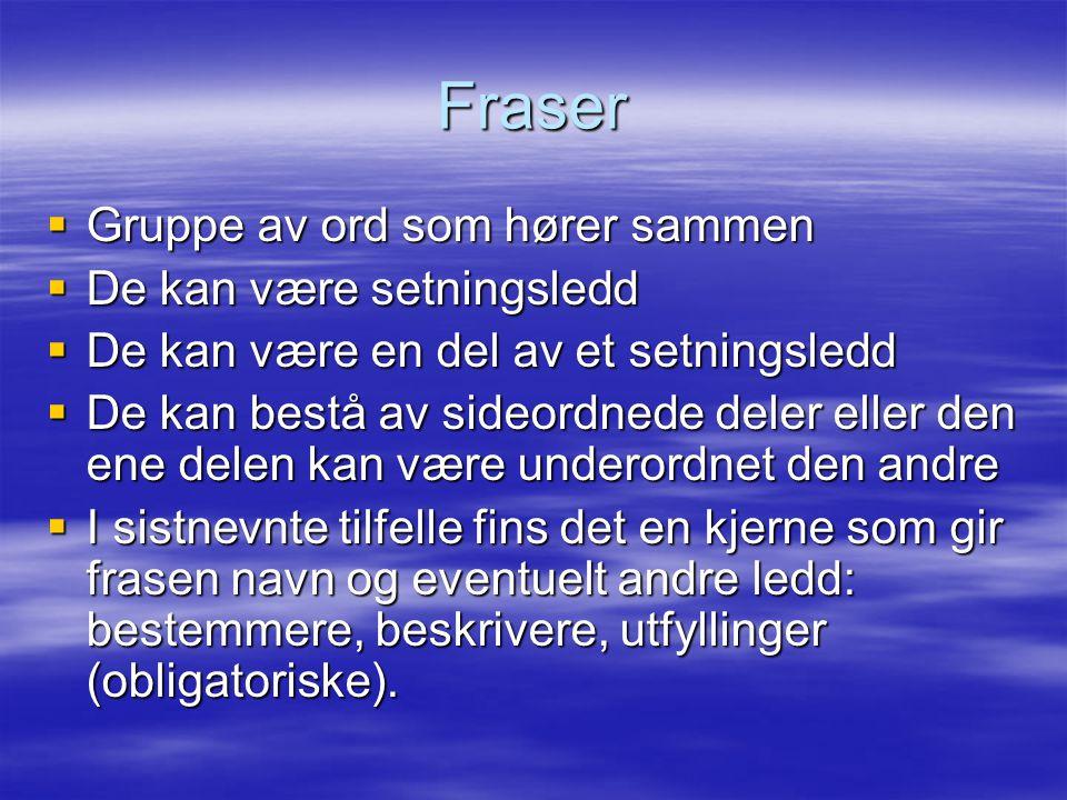 Fraser Gruppe av ord som hører sammen De kan være setningsledd