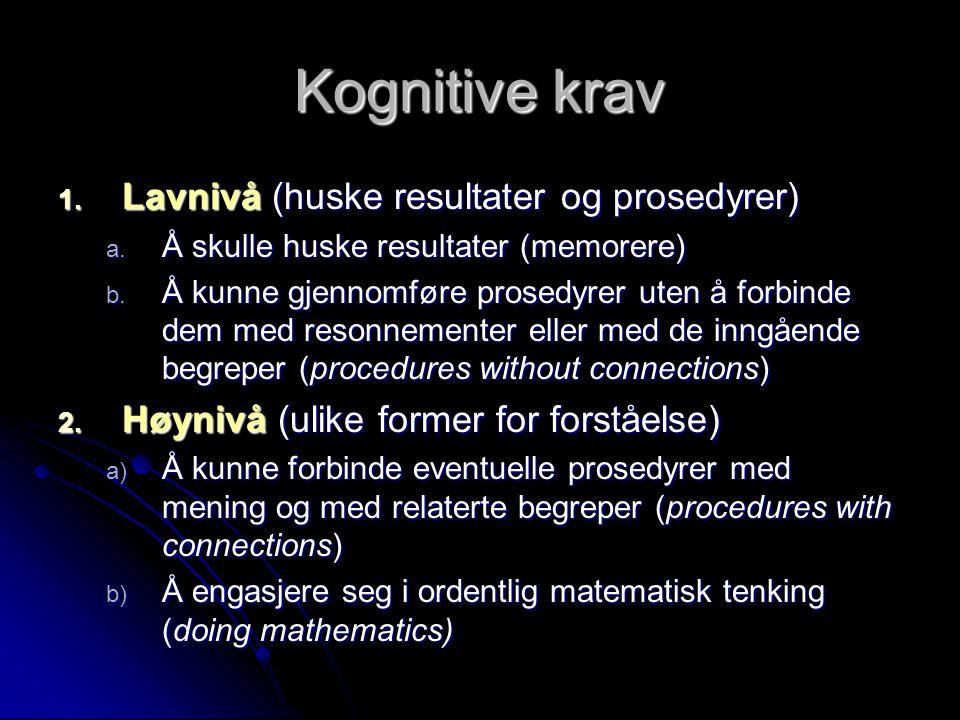 Kognitive krav Lavnivå (huske resultater og prosedyrer)