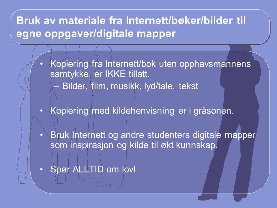 Bruk av materiale fra Internett/bøker/bilder til egne oppgaver/digitale mapper