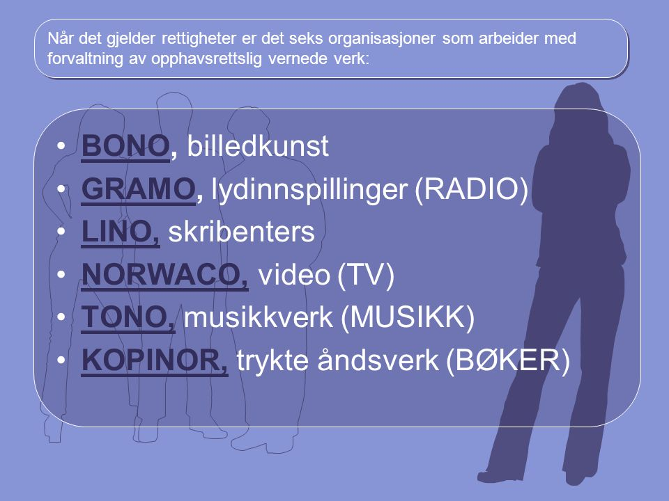 GRAMO, lydinnspillinger (RADIO) LINO, skribenters NORWACO, video (TV)
