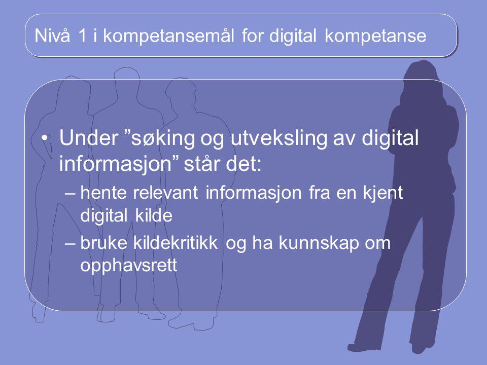 Nivå 1 i kompetansemål for digital kompetanse