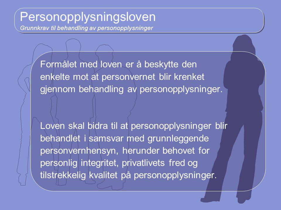 Personopplysningsloven Grunnkrav til behandling av personopplysninger