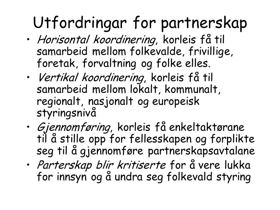 Utfordringar for partnerskap