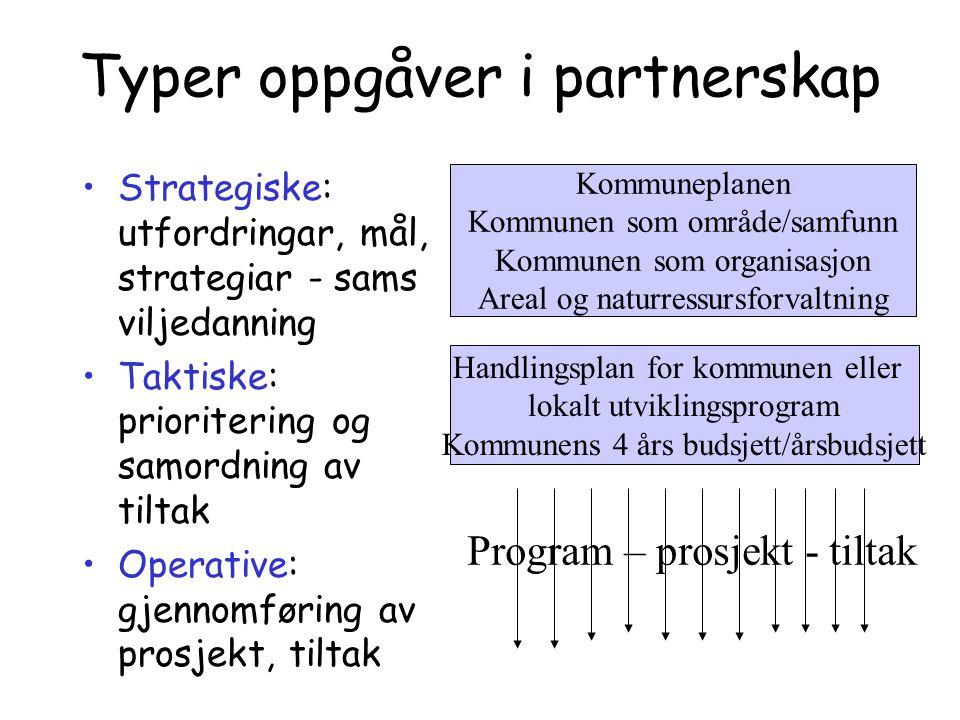 Typer oppgåver i partnerskap