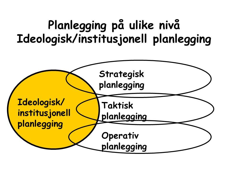 Planlegging på ulike nivå Ideologisk/institusjonell planlegging