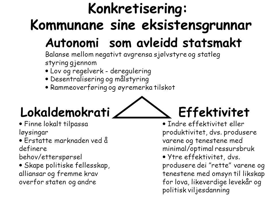 Konkretisering: Kommunane sine eksistensgrunnar