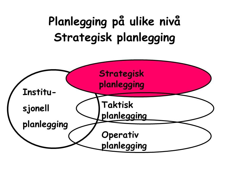 Planlegging på ulike nivå Strategisk planlegging