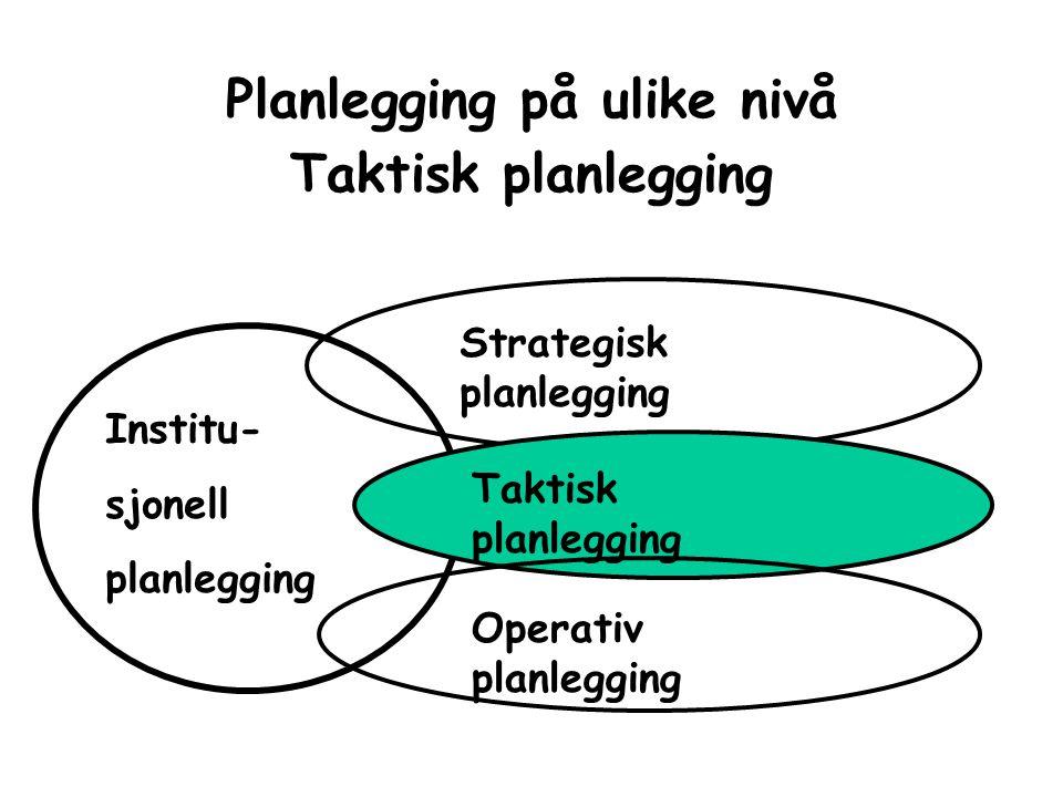 Planlegging på ulike nivå Taktisk planlegging