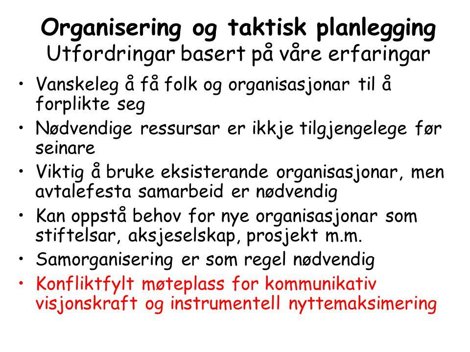 Organisering og taktisk planlegging Utfordringar basert på våre erfaringar