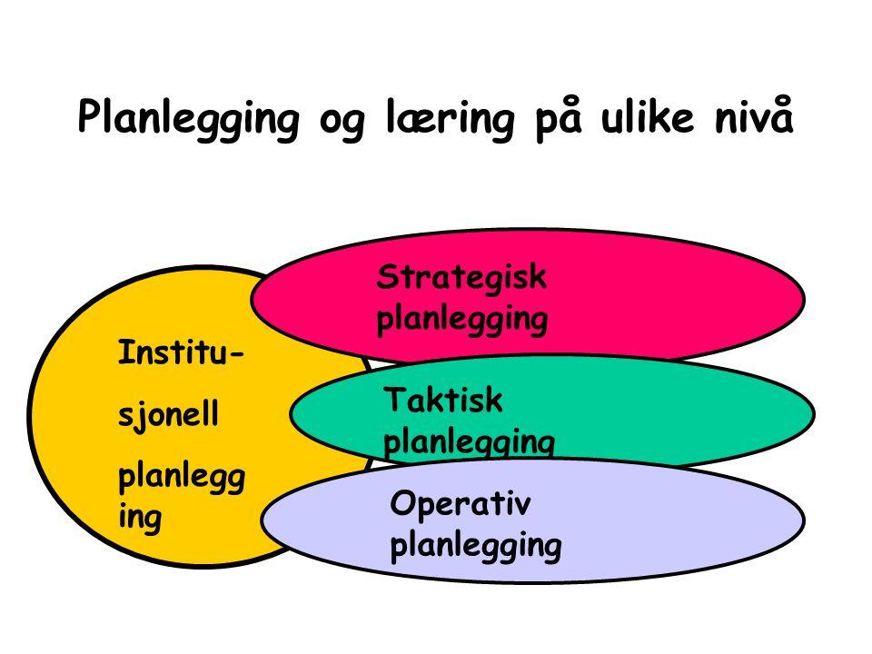 Planlegging og læring på ulike nivå