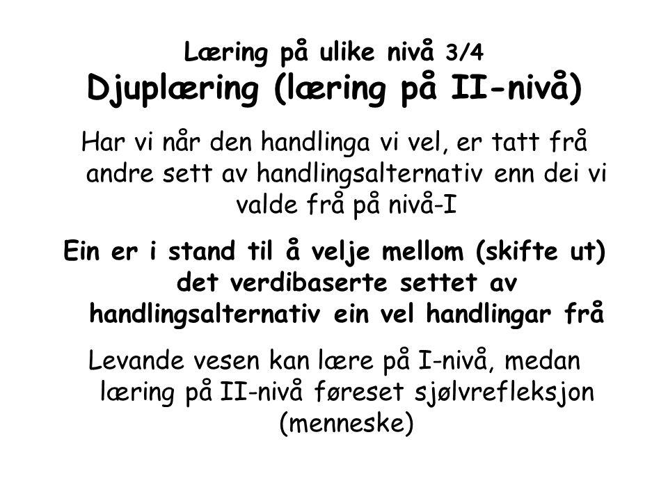 Læring på ulike nivå 3/4 Djuplæring (læring på II-nivå)