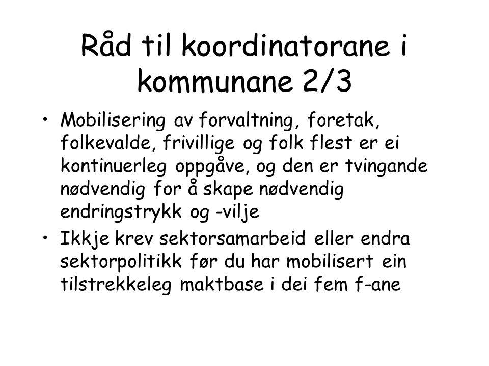 Råd til koordinatorane i kommunane 2/3