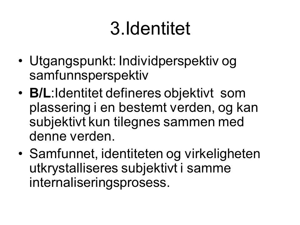 3.Identitet Utgangspunkt: Individperspektiv og samfunnsperspektiv