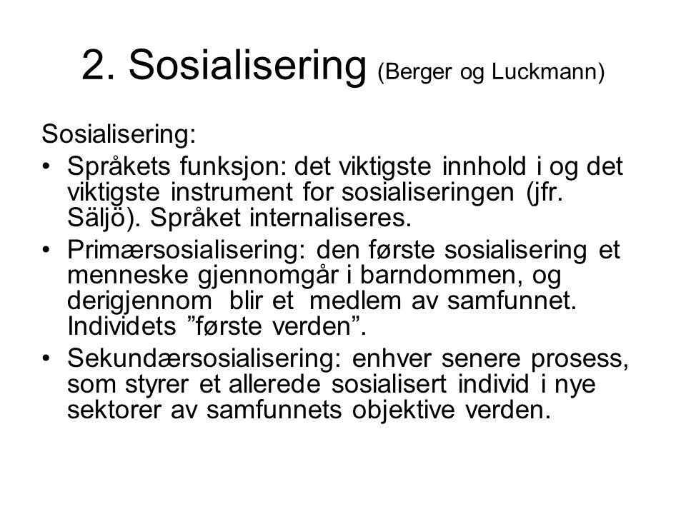 2. Sosialisering (Berger og Luckmann)