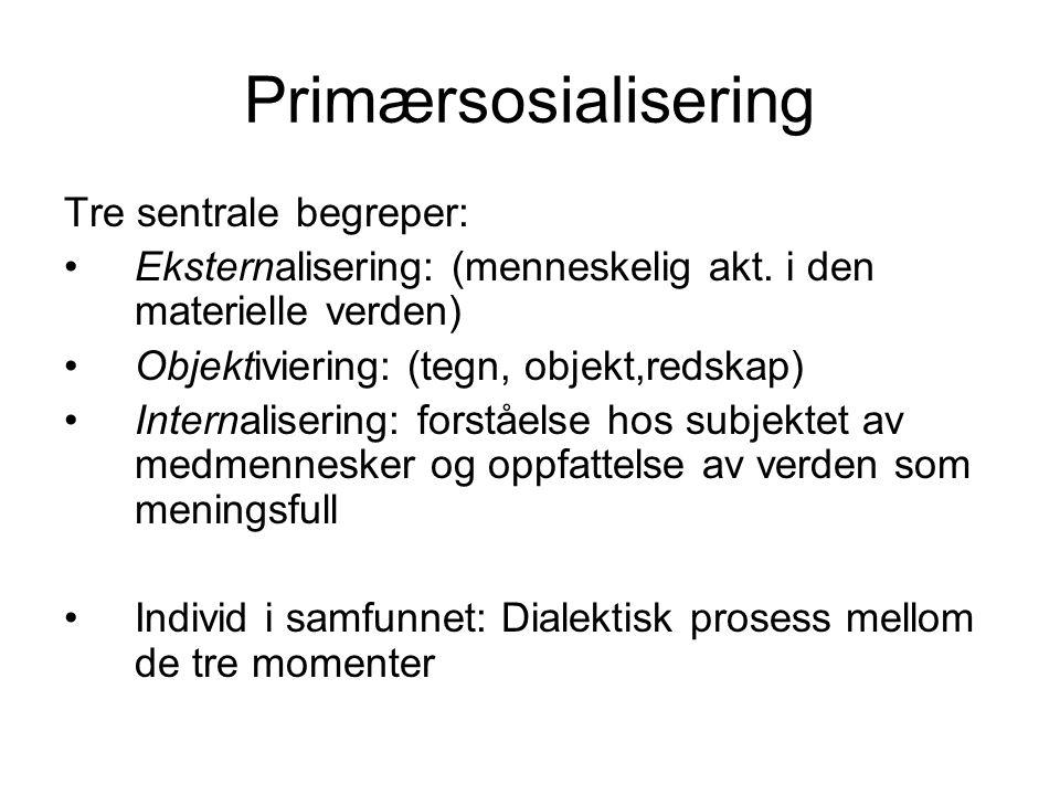 Primærsosialisering Tre sentrale begreper: