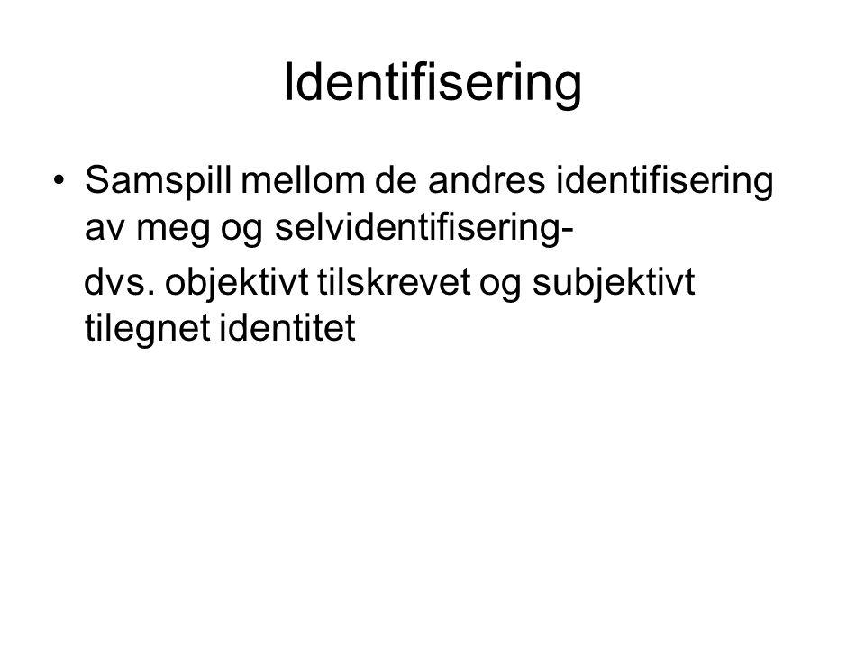 Identifisering Samspill mellom de andres identifisering av meg og selvidentifisering- dvs.