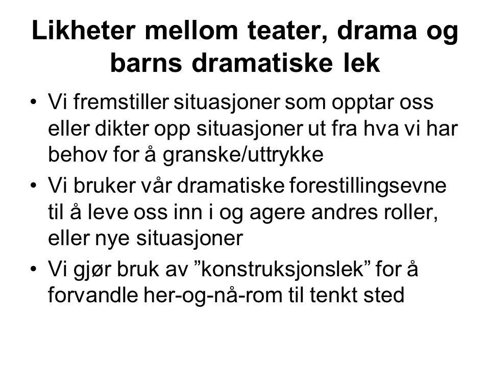 Likheter mellom teater, drama og barns dramatiske lek
