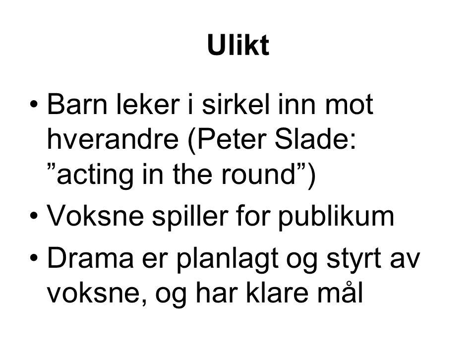 Ulikt Barn leker i sirkel inn mot hverandre (Peter Slade: acting in the round ) Voksne spiller for publikum.