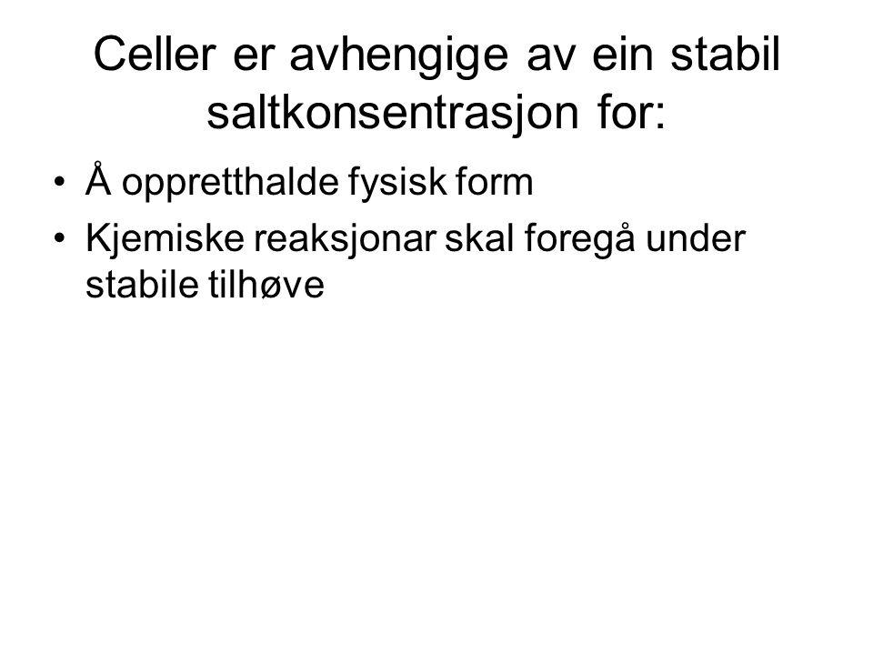 Celler er avhengige av ein stabil saltkonsentrasjon for: