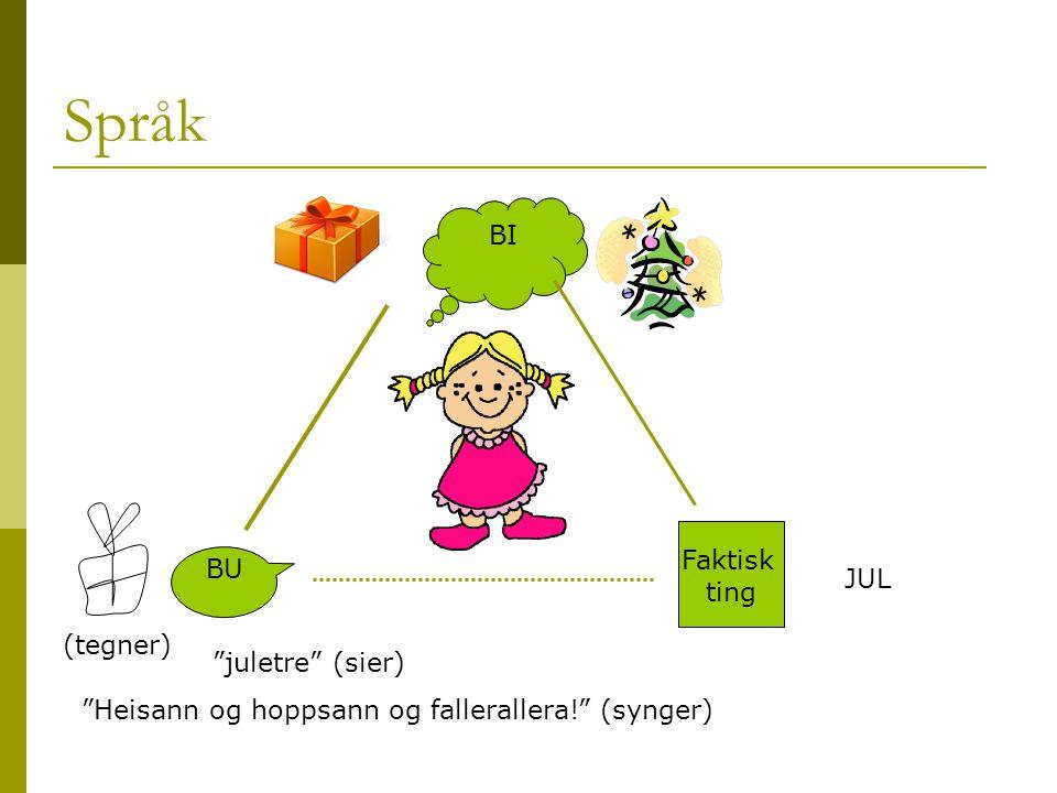 Språk BI Faktisk BU ting JUL (tegner) juletre (sier)