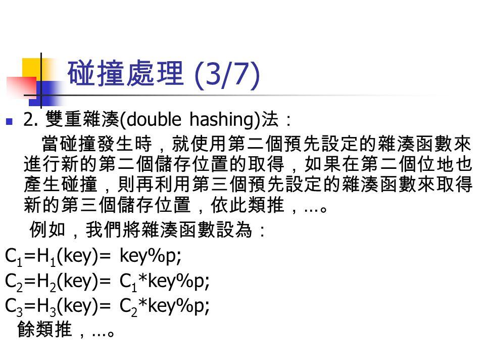 碰撞處理 (3/7) 2. 雙重雜湊(double hashing)法: