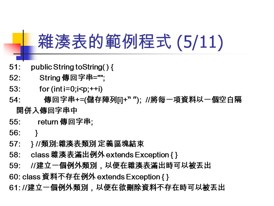 雜湊表的範例程式 (5/11) 51: public String toString( ) { 52: String 傳回字串= ;