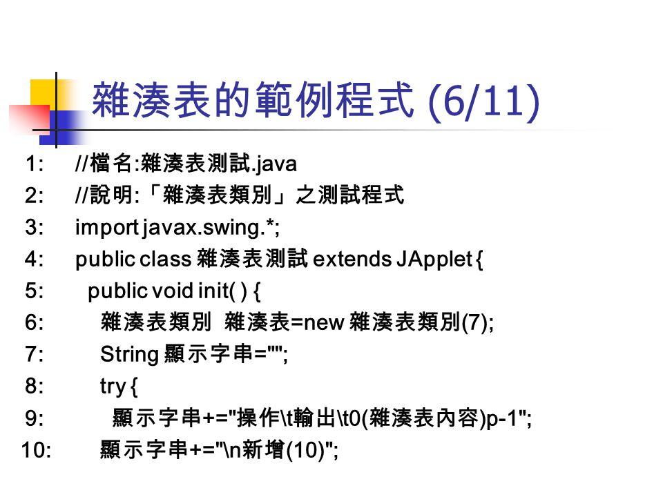 雜湊表的範例程式 (6/11) 1: //檔名:雜湊表測試.java 2: //說明:「雜湊表類別」之測試程式