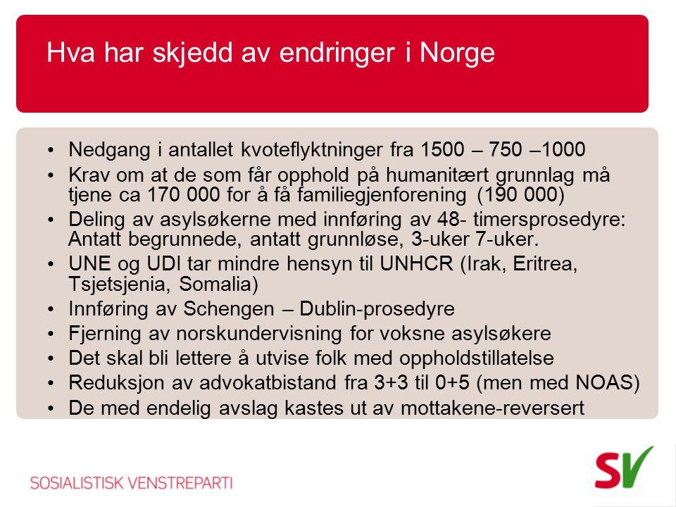 Hva har skjedd av endringer i Norge