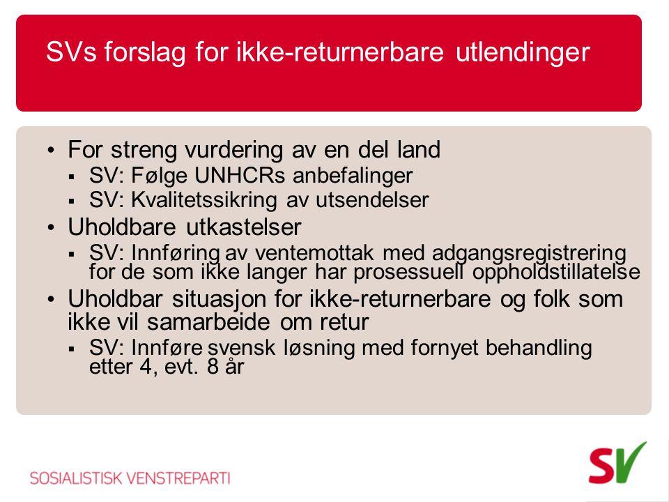 SVs forslag for ikke-returnerbare utlendinger