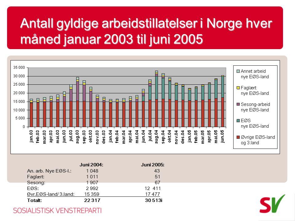 Antall gyldige arbeidstillatelser i Norge hver måned januar 2003 til juni 2005