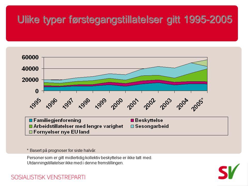 Ulike typer førstegangstillatelser gitt 1995-2005