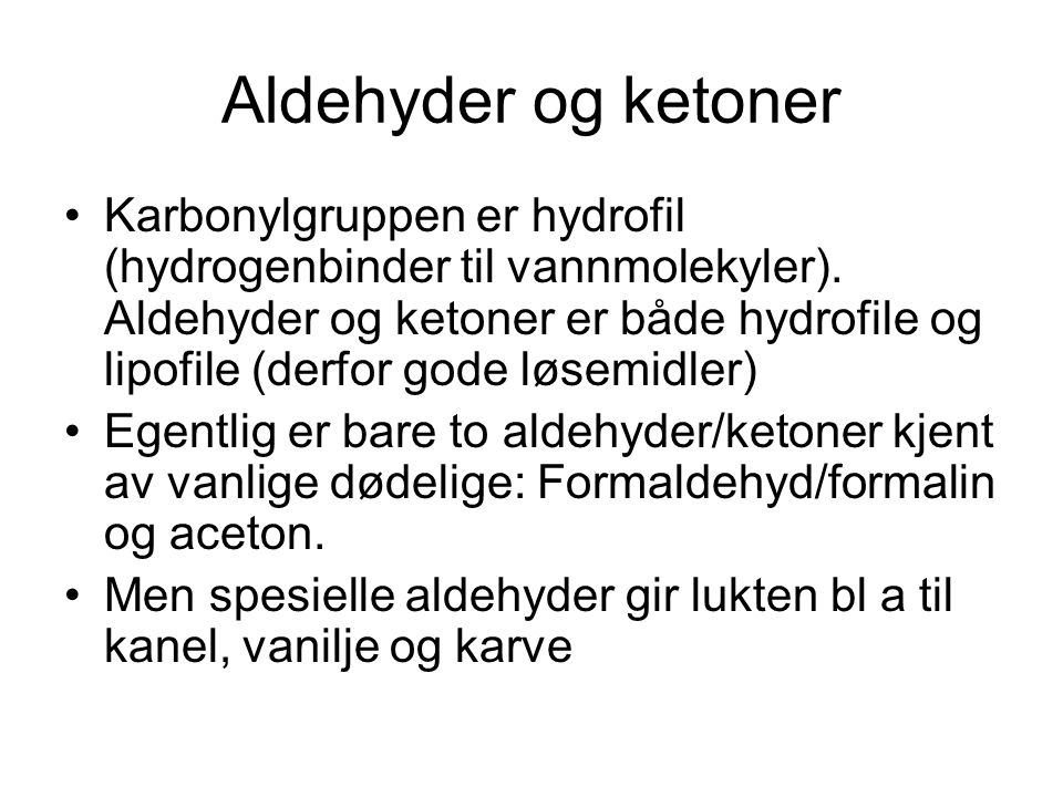 Aldehyder og ketoner