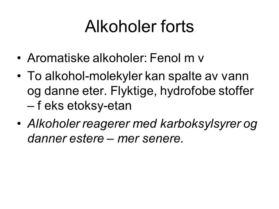 Alkoholer forts Aromatiske alkoholer: Fenol m v