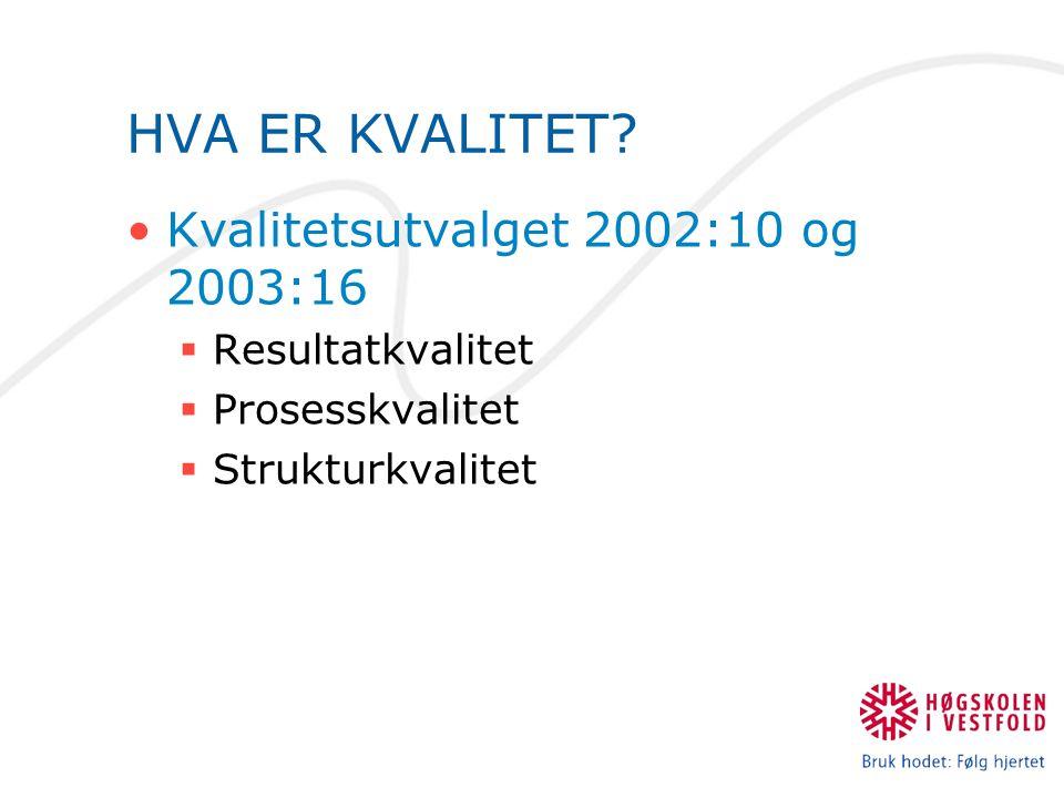 HVA ER KVALITET Kvalitetsutvalget 2002:10 og 2003:16 Resultatkvalitet