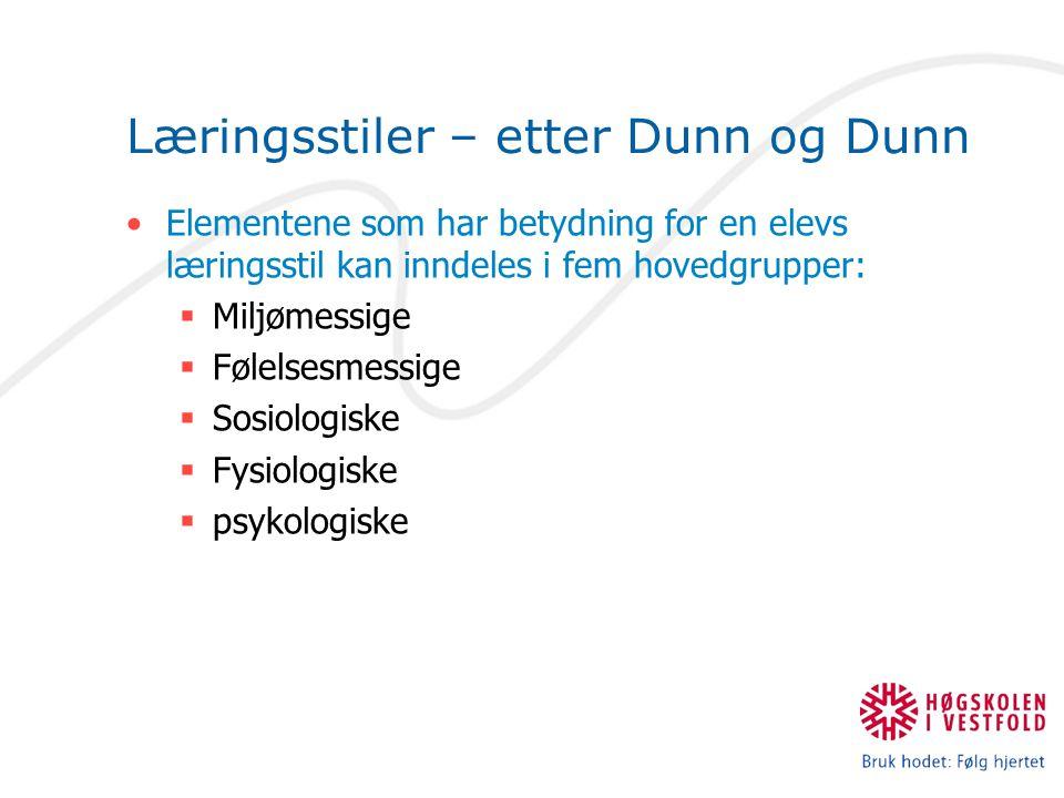 Læringsstiler – etter Dunn og Dunn
