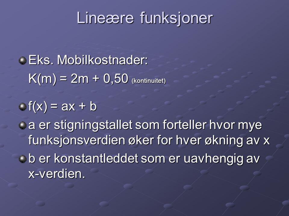 Lineære funksjoner Eks. Mobilkostnader: K(m) = 2m + 0,50 (kontinuitet)