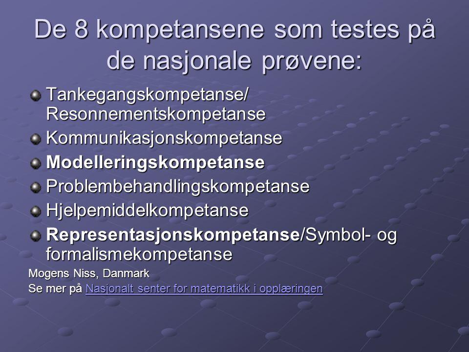 De 8 kompetansene som testes på de nasjonale prøvene: