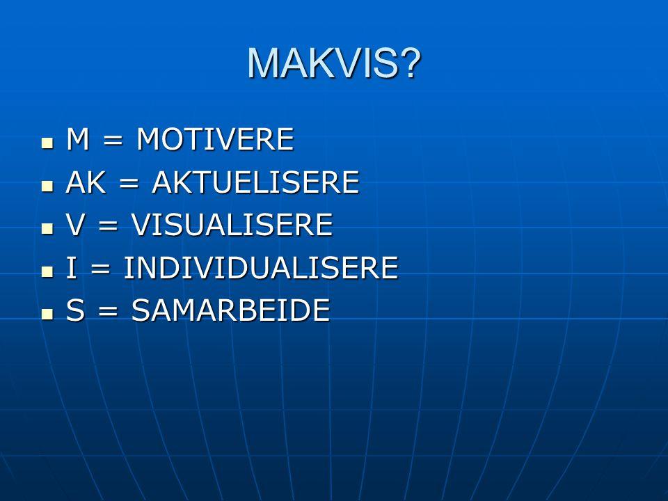 MAKVIS M = MOTIVERE AK = AKTUELISERE V = VISUALISERE