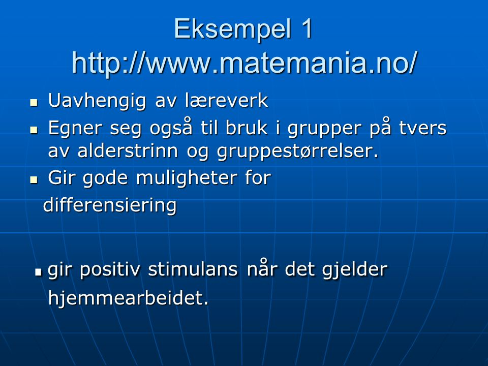 Eksempel 1 http://www.matemania.no/