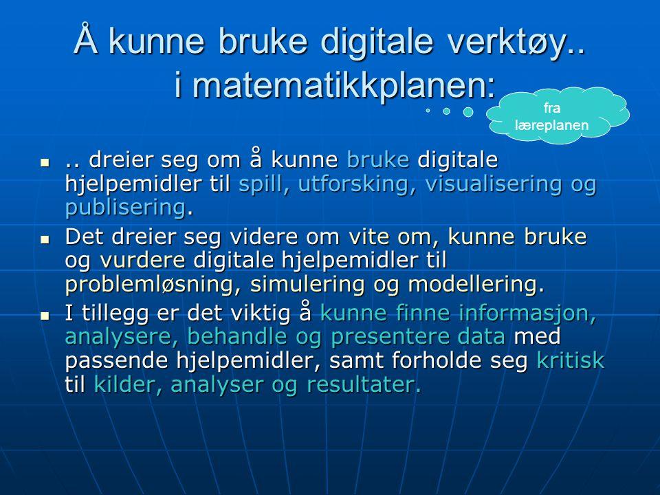 Å kunne bruke digitale verktøy.. i matematikkplanen: